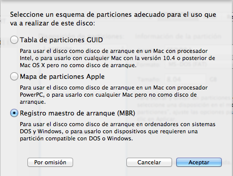 Registro maestro de arranque MBR ( MAC )