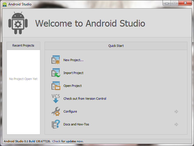 Android Studio Abierto en Windows