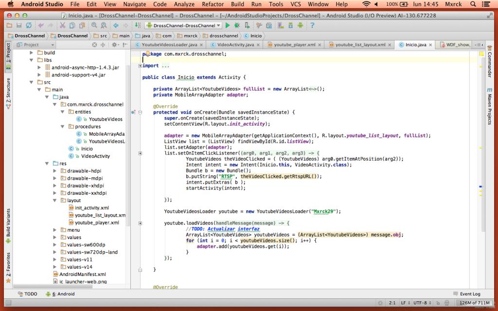 Código fuente en Android Studio