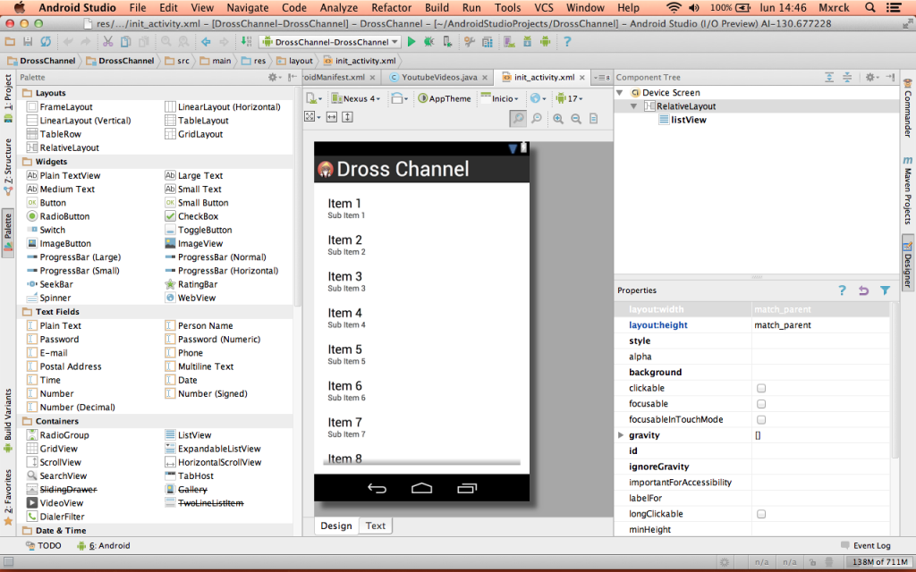 Android Studio paleta de componentes