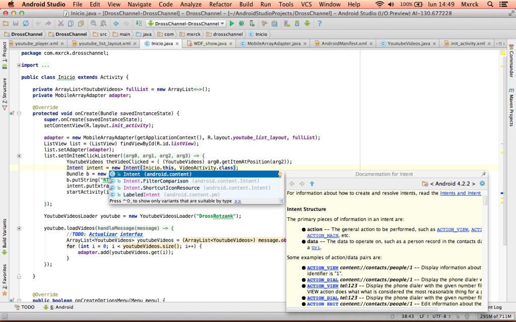 Android Studio completado de código