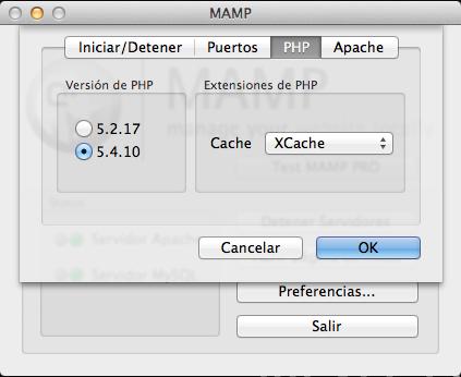 Versión PHP en MAMP OS X