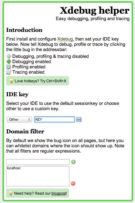 Xdebug helper Chrome